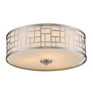 Z-Lite Elea 16.25-in Brushed Nickel 3-Light Flush Mount Light
