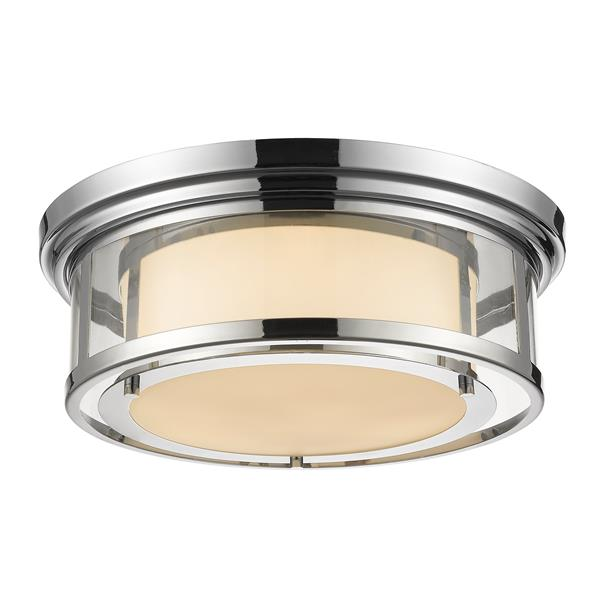 Z-Lite Luna 18.25-in Chrome 3-Light Flush Mount Light