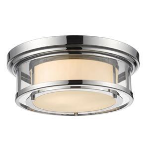 Z-Lite Luna 15.5-in Chrome 2-Light Flush Mount Light