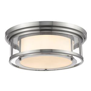 Z-Lite Luna 18.25-in Brushed Nickel 3-Light Flush Mount Light