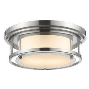 Z-Lite Luna 15.5-in Brushed Nickel 2-Light Flush Mount Light