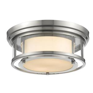 Z-Lite Luna 13-in Brushed Nickel 2-Light Flush Mount Light