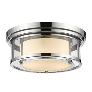 Z-Lite Luna 13-in Chrome 2-Light Flush Mount Light