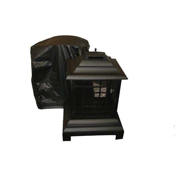 Paramount Black Vinyl 32-in x 43-in Patio Fireplace Cover