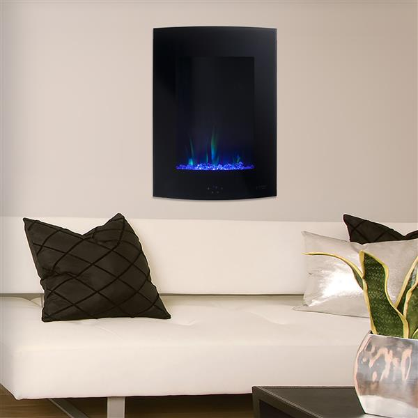 Paramount Cambridge Wall Mount 26.8-in x 19.45-in Black Electric Fireplace