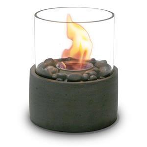 Foyer extérieur de table rond, céramique, gris