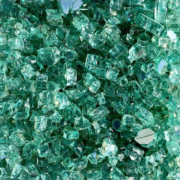 Paramount Reflective Fire Glass 40 Lbs.  Luminous Sea Green Tempered Glass