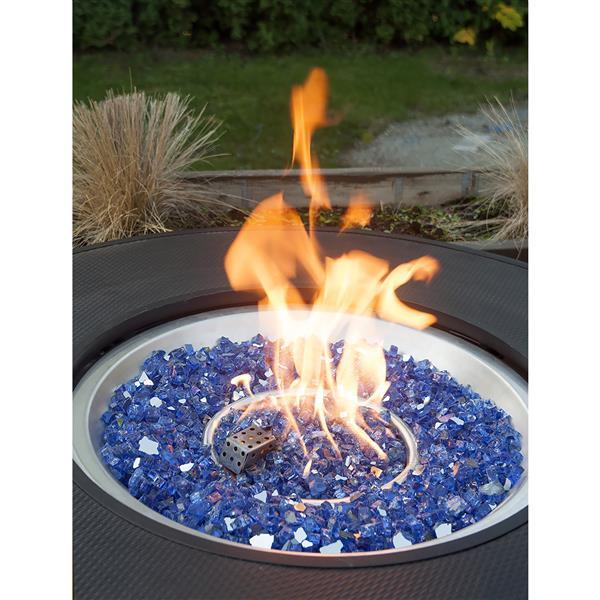 Verre feu réfléchissant, verre trempé, 40 lb, bleu