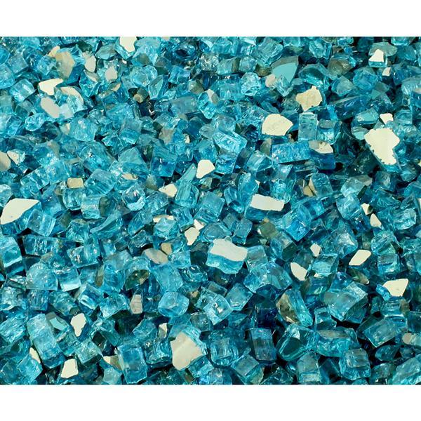 Paramount Reflective Fire Glass 40 Lbs.  Luminous Caribbean Sea Tempered Glass