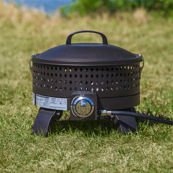 Portable 17.71-in Black Propane Fire Pit