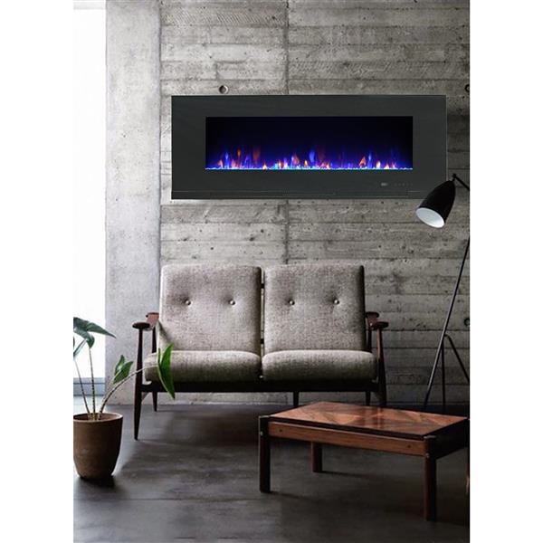 """Foyer électrique mural Mirage, 20,08"""" x 42"""", noir"""