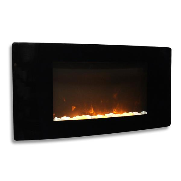 Paramount Barcelona 17.7-in x 35.5-in Black Wall Electric Fireplace