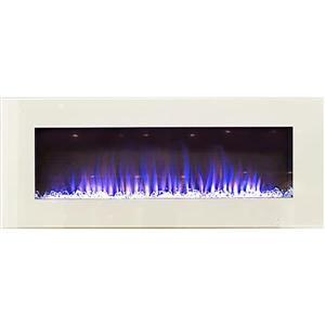 """Foyer mural électrique, 20"""" x 50"""", blanc"""