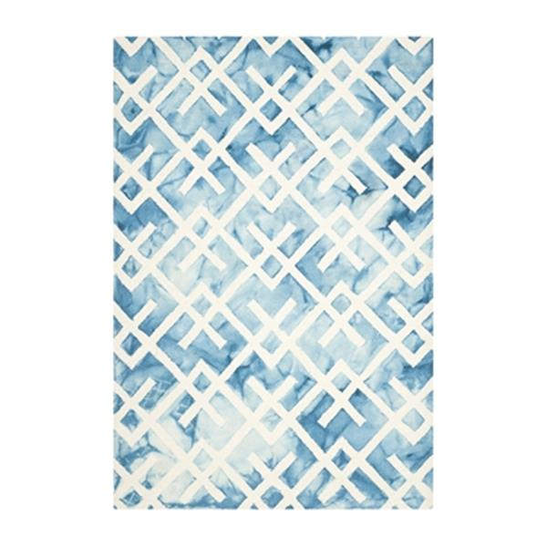 Safavieh Dip Dye 10-ft x 2.25-ft Hand-Tufted Wool Blue and Ivory Area Rug