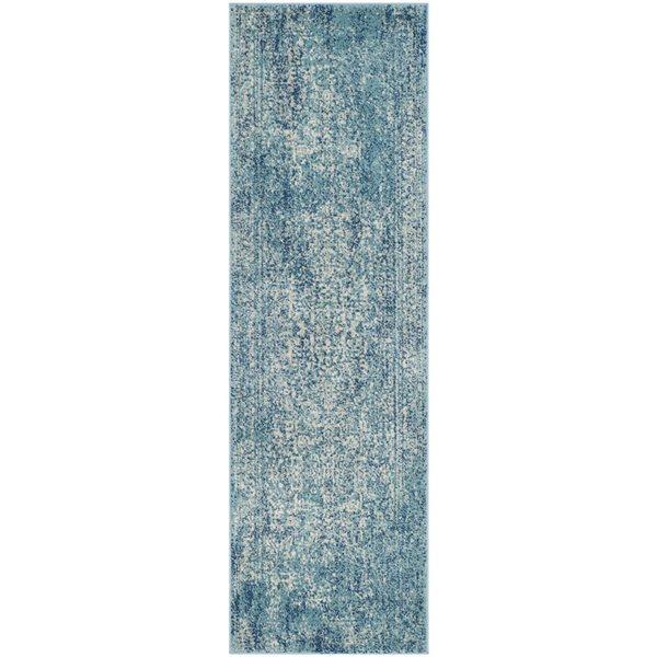 Safavieh Evoke 15-ft x 2.16-ft Blue and Ivory Indoor Area Rug