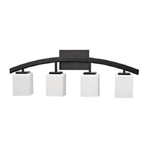 Russell Lighting Crafton Vanity Light - 4 Lights - 30-in - Black