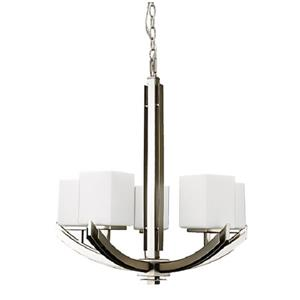 Russell Lighting Crafton Pendant Light - 5 Lights - Glass - Brushed Chrome