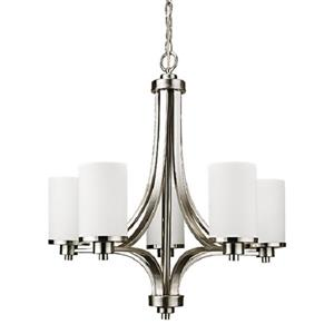Oxford Pendant Light - 5 Lights - Glass - Brushed Chrome