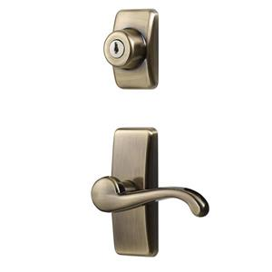 Ideal Security GL Antique Brass Lever Set With Deadbolt