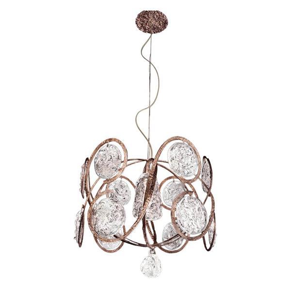 Classic Lighting Celeste 18-in Winter Bronze Modern Clear Glass Drum Pendant