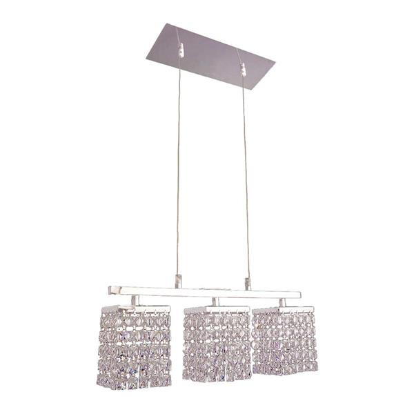 Classic Lighting Bedazzle 18-in W 3-Light Chrome Kitchen Island Light with Crystalique-Plus Square Crystal Shade