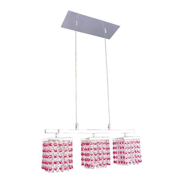 Classic Lighting Bedazzle 3-Light Chrome Kitchen Island Light with Swarovski Elements Bourdeaux Red And Clear Crystal Shade