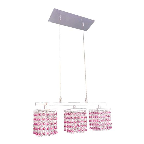 Classic Lighting Bedazzle 3-Light Chrome Kitchen Island Light with Swarovski Elements Bourdeaux Red And Rosaline Pink Crystal