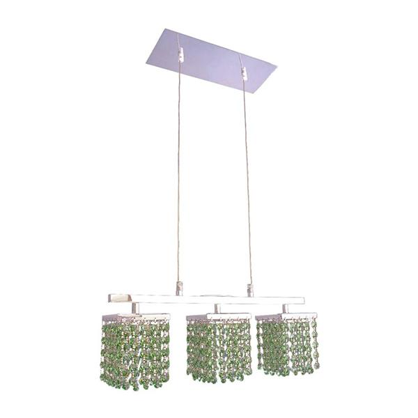 Classic Lighting Bedazzle 18-in W 3-Light Chrome Kitchen Island Light with Swarovski Elements Light Peridot Green Crystal Shade