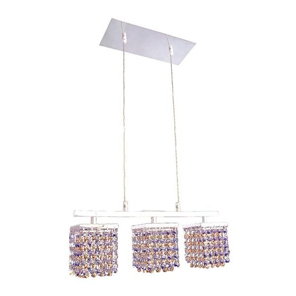 Classic Lighting Bedazzle 3-Light Chrome Kitchen Island Light with Swarovski Elements Medium Sapphire and Topaz Crystal Shade