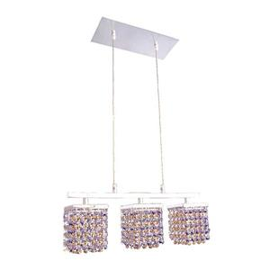Classic Lighting Bedazzle 18-in W 3-Light Chrome Kitchen Island Light with Swarovski Elements Medium Sapphire and Topaz Crystal