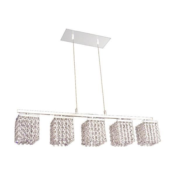 Classic Lighting Bedazzle 32-in W 5-Light Chrome Kitchen Island Light with Crystalique-Plus Crystal Shade