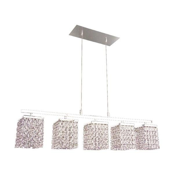 Classic Lighting Bedazzle 32-in W 5-Light Chrome Kitchen Island Light with Crystalique-Plus Square Crystal Shade