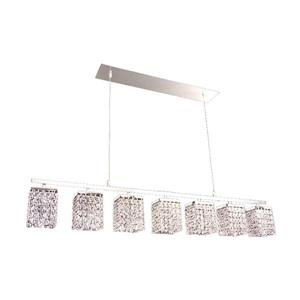 Classic Lighting Bedazzle 46-in W 7-Light Chrome Kitchen Island Light with Crystalique-Plus Square Crystal Shade