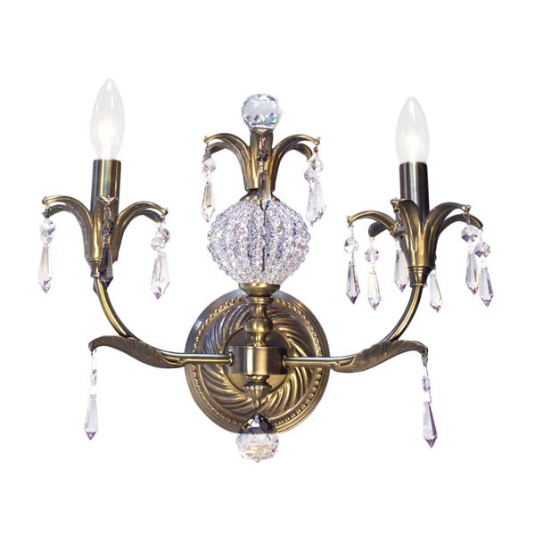 Classic Lighting Sharon 14-in W 2-Light Antique Brass Crystal Accent Arm Wall Sconce