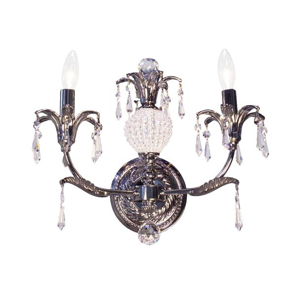 Classic Lighting Sharon 14-in W 2-Light Chrome Crystal Accent Arm Wall Sconce