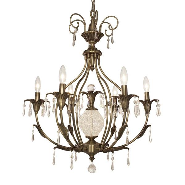 Classic Lighting Sharon Collection 36-in Antique Brass Crystalique-Plus 6-Light Traditional Candle Chandelier