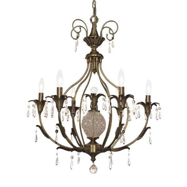 Classic Lighting Sharon Collection 36-in Antique Brass Crystalique Smoke 6-Light Traditional Candle Chandelier