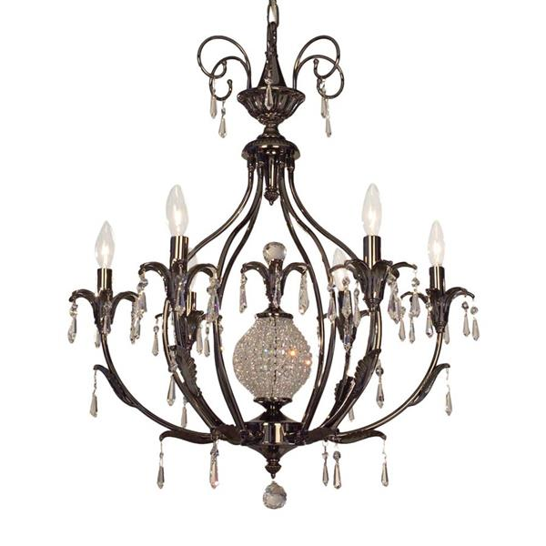 Classic Lighting Sharon Collection 36-in Ebony Pearl Crystalique-Plus 6-Light Traditional Candle Chandelier