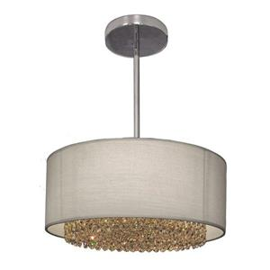 Classic Lighting Newport 15-in Chrome With Swarovski Elements Accent Transitional Crystal Drum Pendant