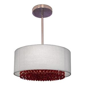 Classic Lighting Newport 15-in Chrome With Swarovski Elements Boudreaux Red Accent Transitional Crystal Drum Pendant