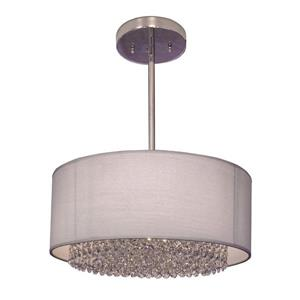 Classic Lighting Newport 15-in Chrome With Swarovski Spectra Accent Transitional Crystal Drum Pendant