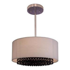 Classic Lighting Newport 15-in Chrome With Swarovski Elements Jet Black Accent Transitional Crystal Drum Pendant