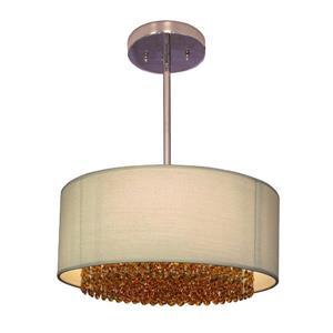 Classic Lighting Newport 15-in Chrome With Swarovski Elements Topaz Accent Transitional Crystal Drum Pendant