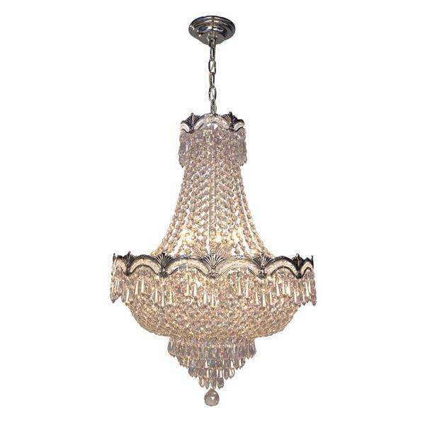 Classic Lighting Regency II 36-in Chrome with Black Patina Crystalique Smoke 8-Light Traditional Crystal Empire Chandelier