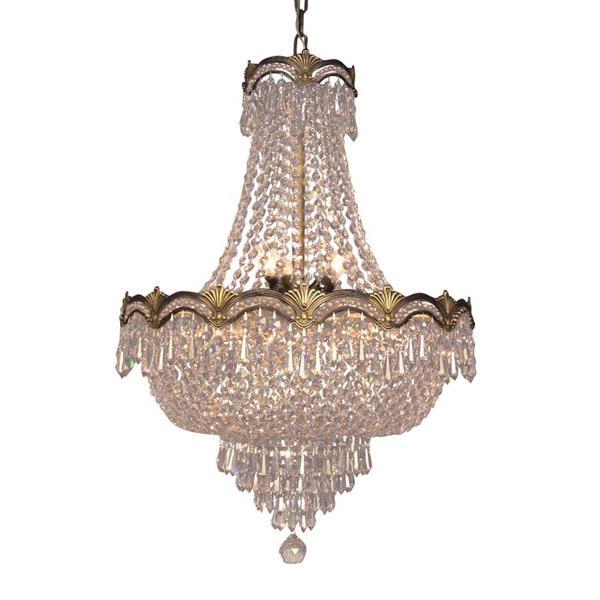 Classic Lighting Regency II Collection 36-in Roman Bronze Crystalique Smoke 8-Light Traditional Crystal Empire Chandelier