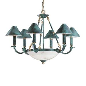 Classic Lighting Livorno Collection 36-in English Bronze with Cream Alabaster 9-Light Shaded Chandelier