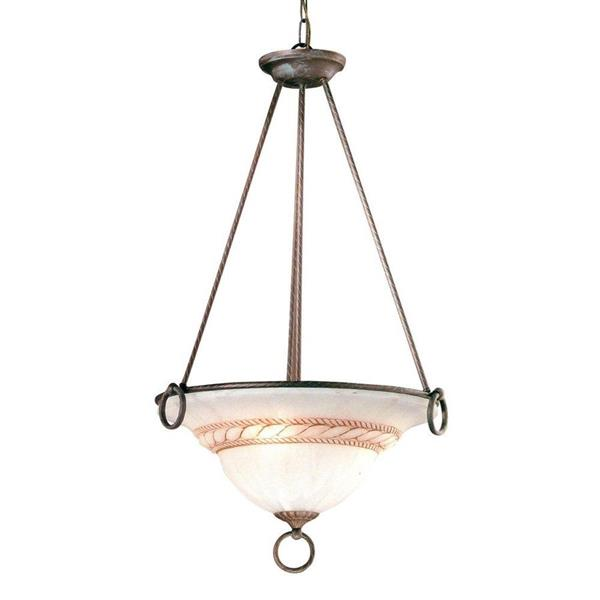Classic Lighting Livorno 22-in Bronze Alabaster Glass 3-Light Bowl Pendant Lighting