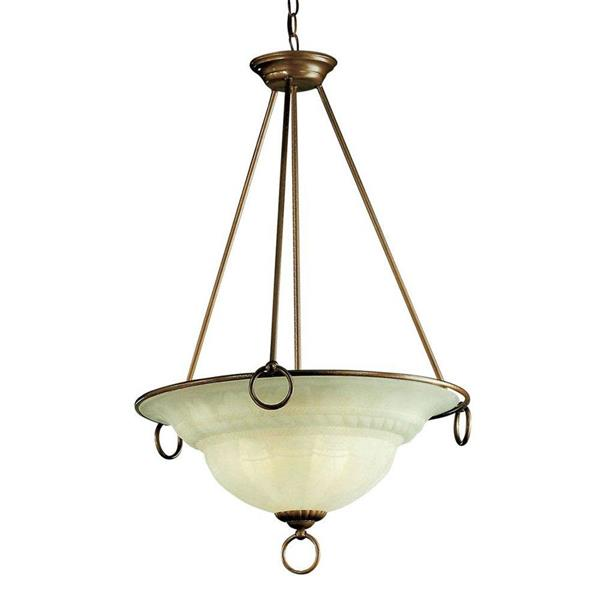 Classic Lighting Livorno 22-in English Bronze Alabaster Glass 3-Light Bowl Pendant Lighting