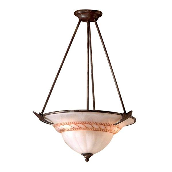 Classic Lighting Roma 23-in Bronze Traditional Alabaster Glass Bowl Pendant