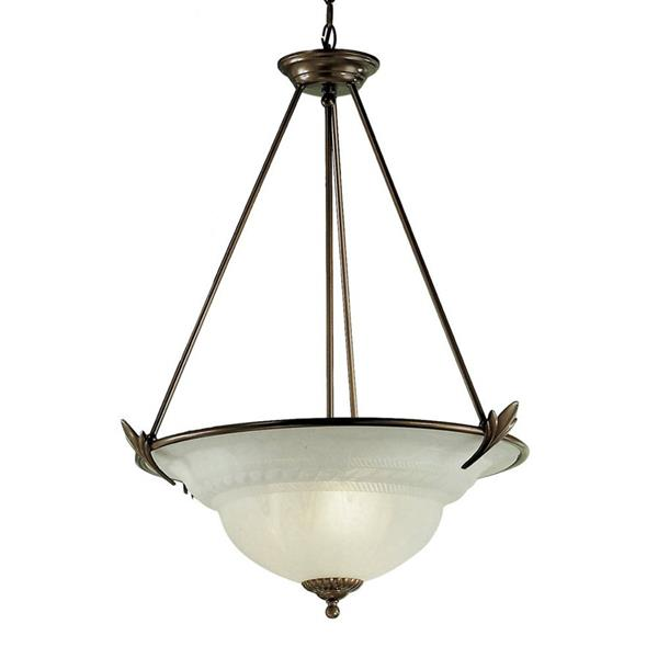 Classic Lighting Roma 23-in English Bronze Traditional Alabaster Glass Bowl Pendant